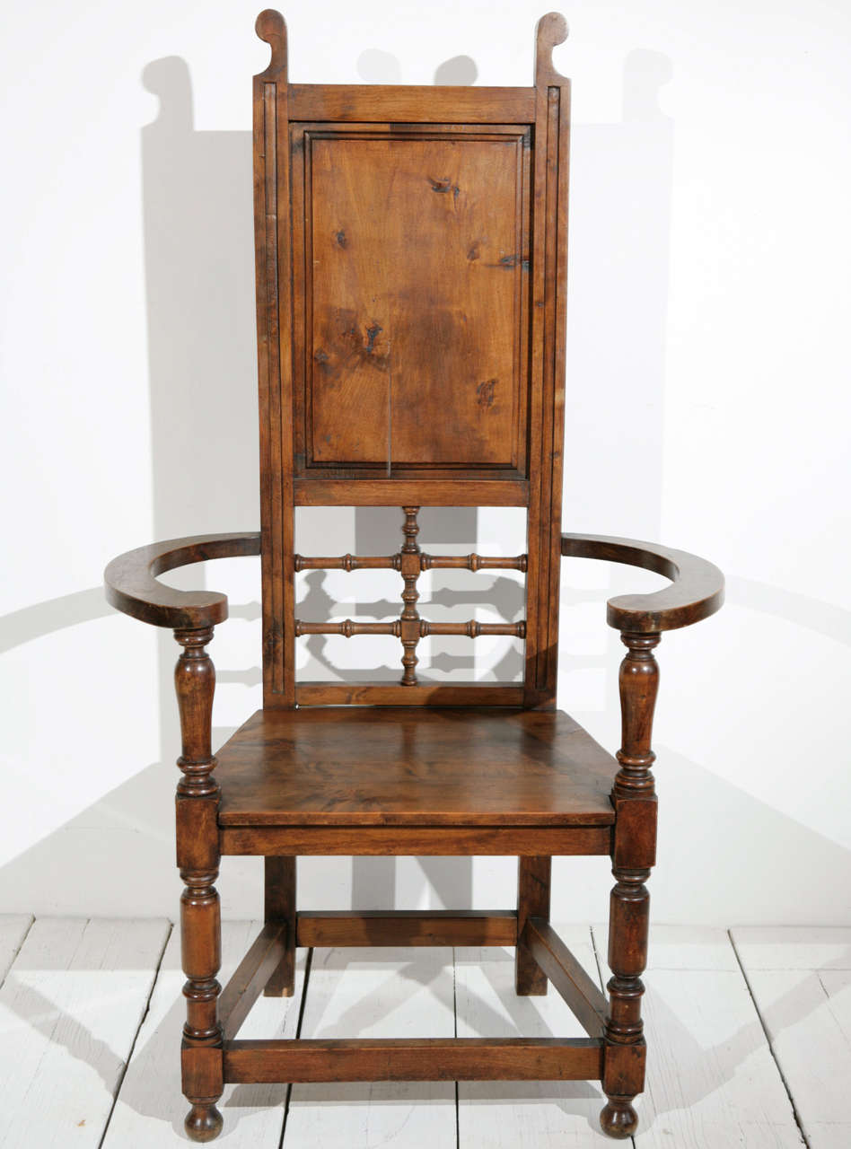High back pine throne dining arm chair at 1stdibs for High back dining room chairs with arms