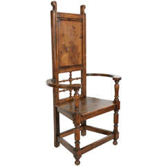 High Back Pine Throne Dining Arm Chair