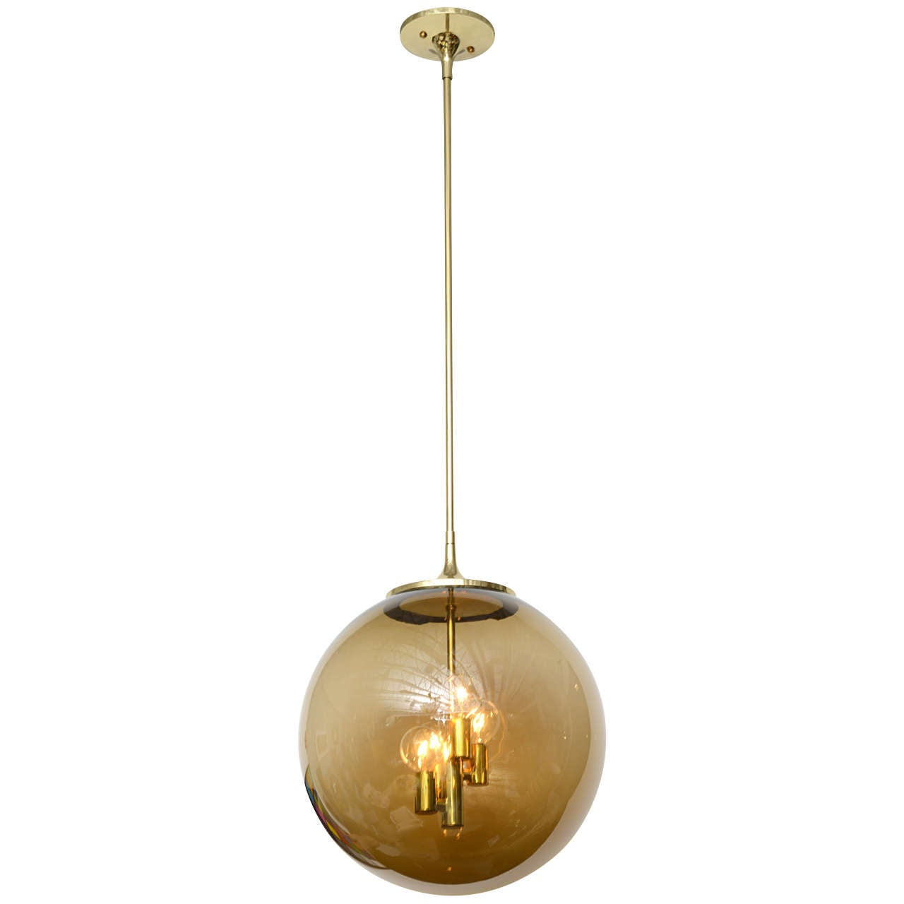 60 s brass globe pendant light at 1stdibs