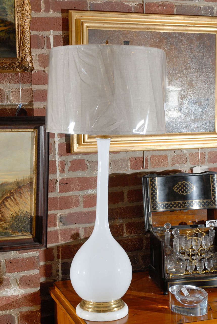 Mid-Century Modern Murano handblown white glass lamp on marble base with brass accents by Marbro.  Lampshade not included in price.