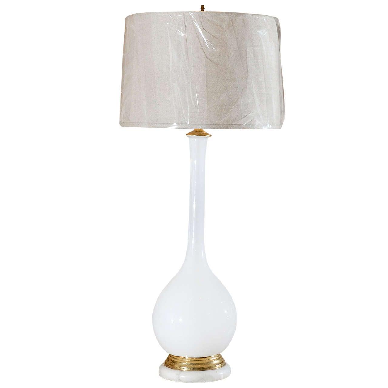 Midcentury Murano White Glass Lamp