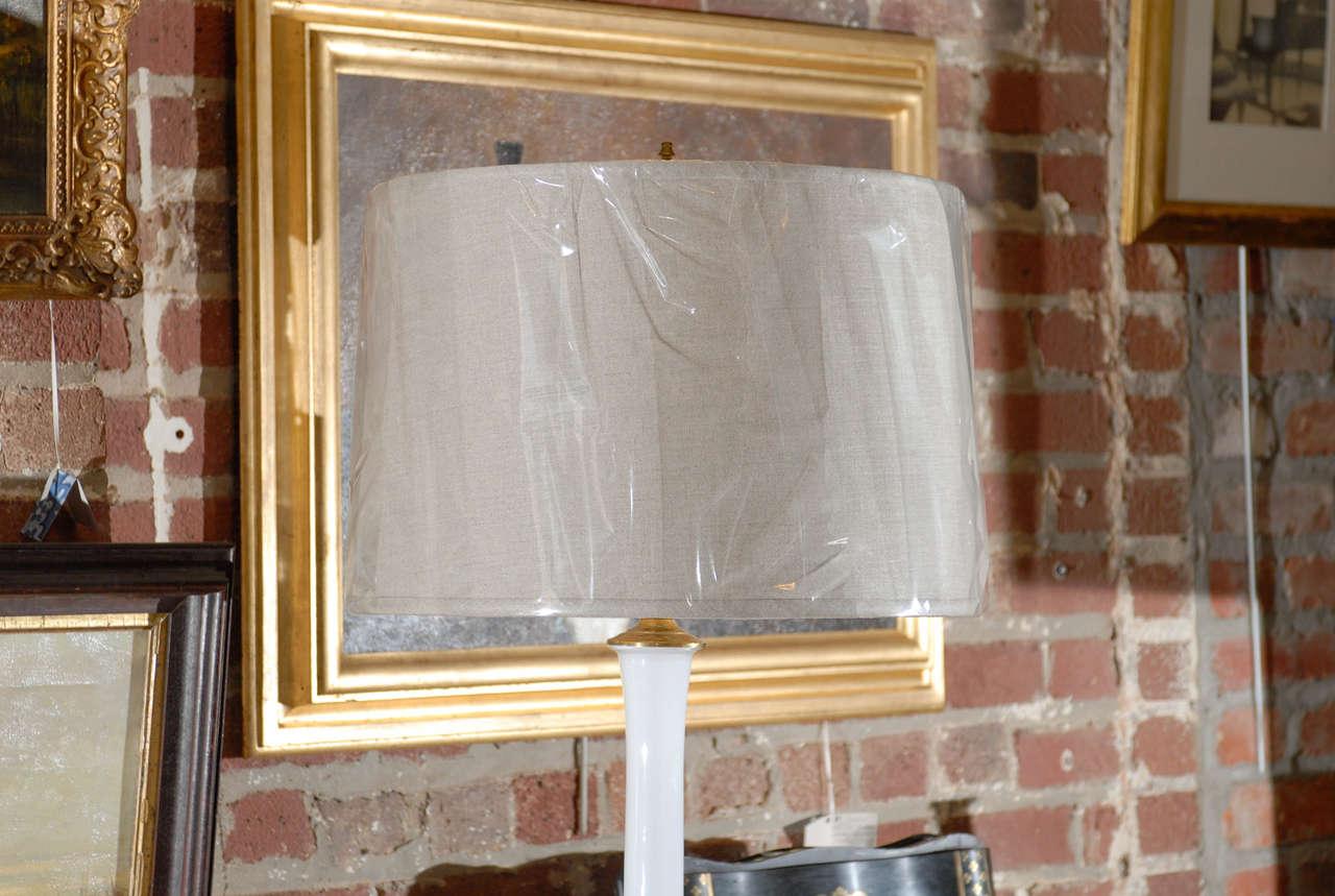 American Midcentury Murano White Glass Lamp For Sale