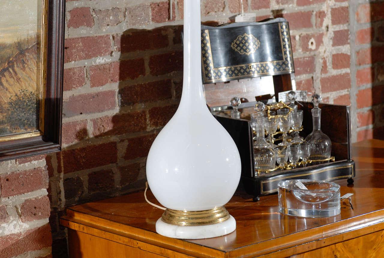 Mid-20th Century Midcentury Murano White Glass Lamp For Sale