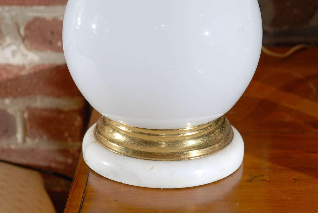 Brass Midcentury Murano White Glass Lamp For Sale