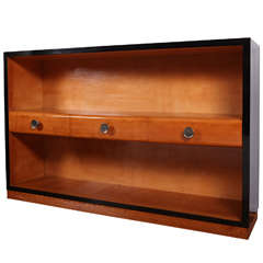 Art Deco Maple and Black Lacquered Wood Bookcase