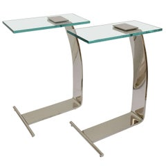 Pair of Side Tables Nickel-Plated and Glass