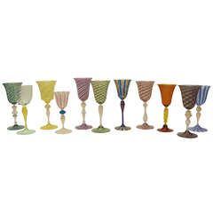 Collection of Seven Venetian Glass Goblets