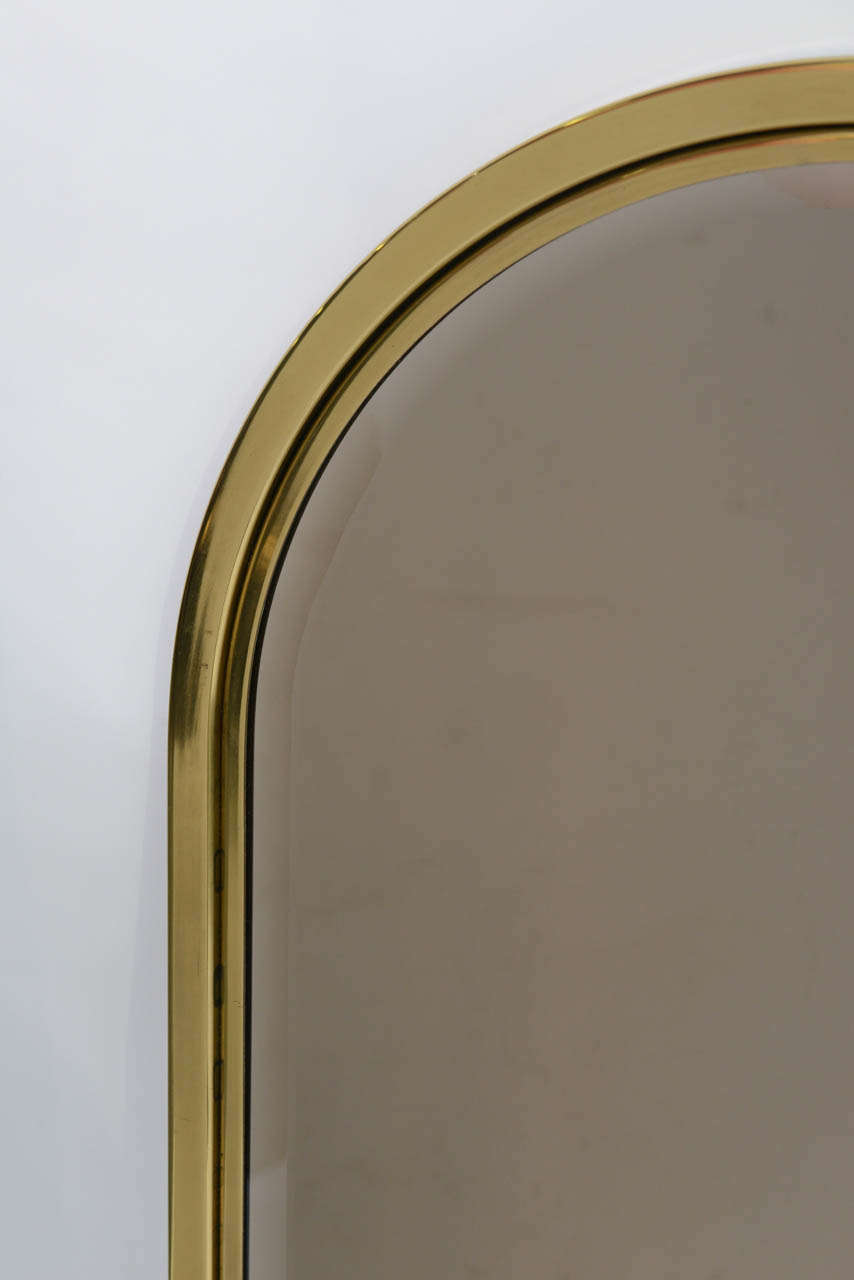 Arched gilt mirror at 1stdibs - Fine Heavy Brass Arched Beveled Glass Mirror 3