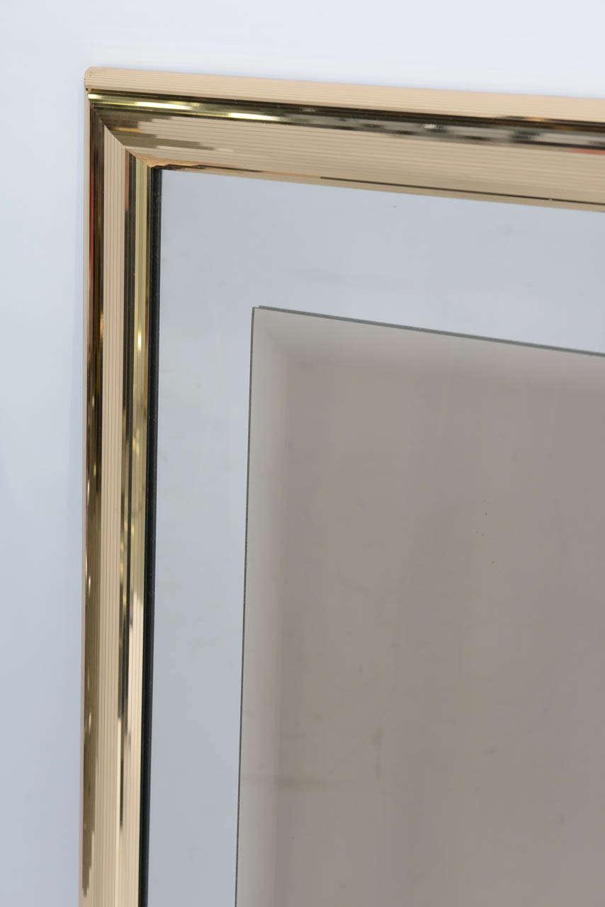 Modern Sleek 1970s Faceted Brass Mirror with Centre Bronze Mirror For Sale