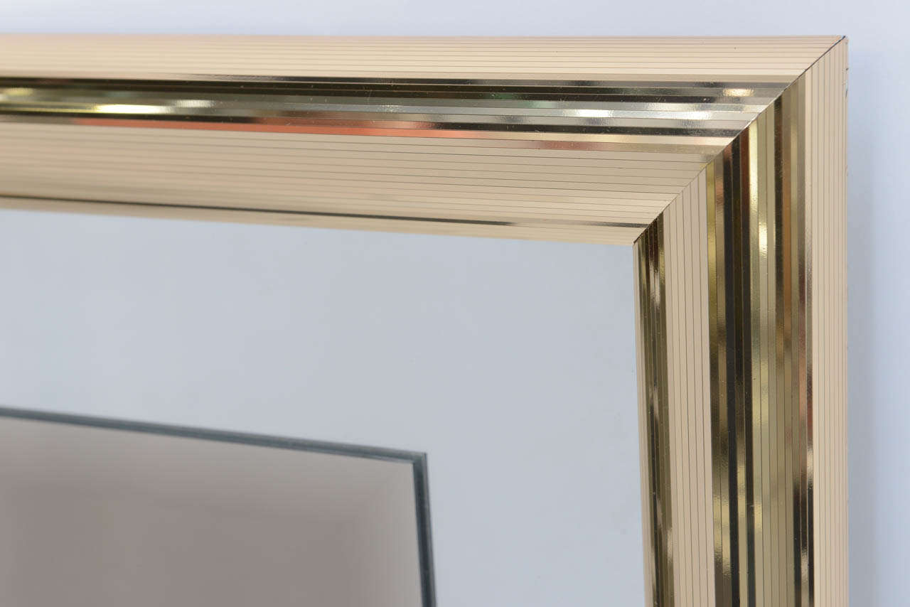Late 20th Century Sleek 1970s Faceted Brass Mirror with Centre Bronze Mirror For Sale