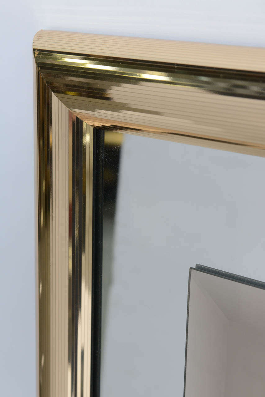 Sleek 1970s Faceted Brass Mirror with Centre Bronze Mirror For Sale 1