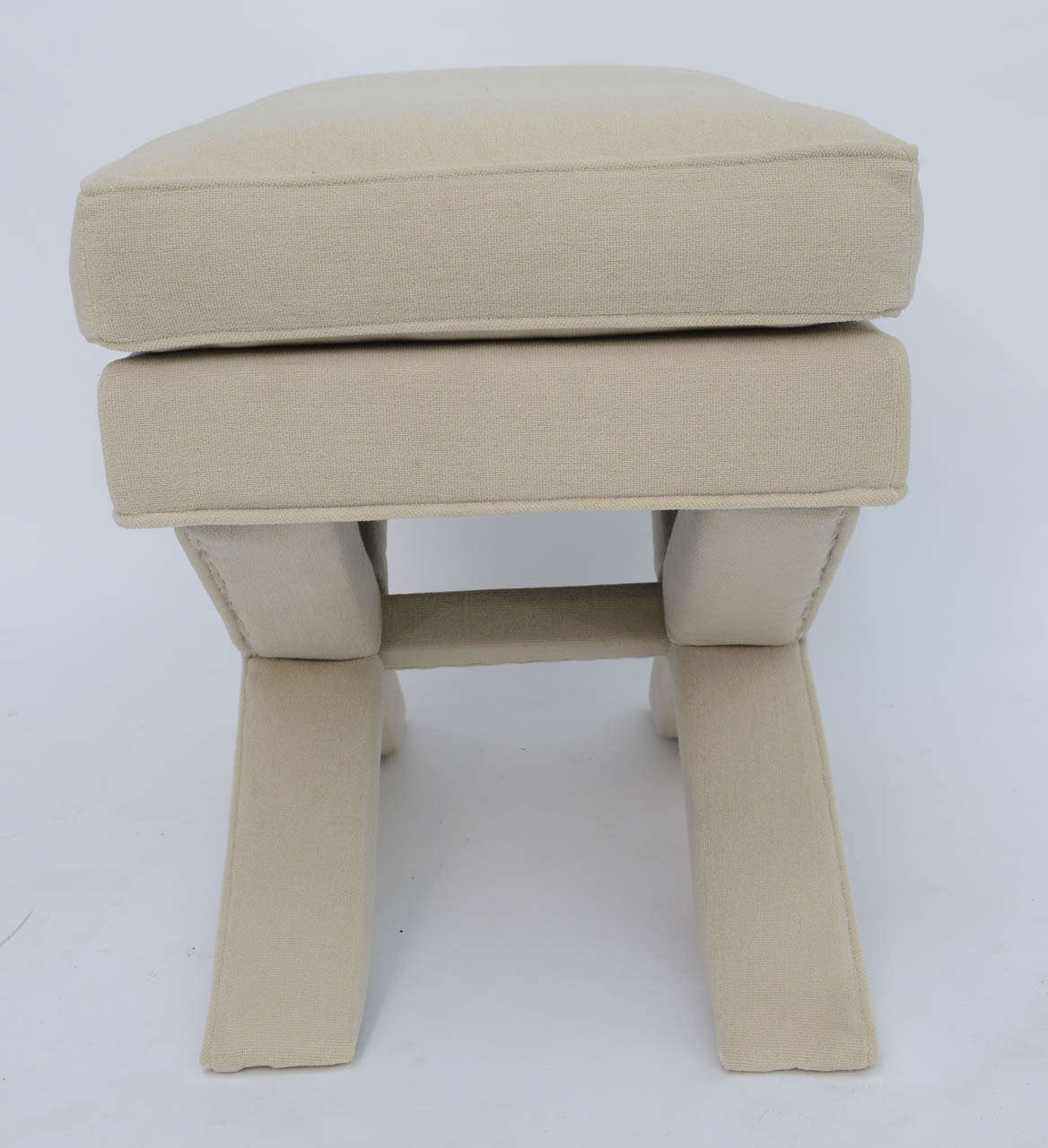 Billy Baldwin Style Upholstered X-Bench For Sale 3