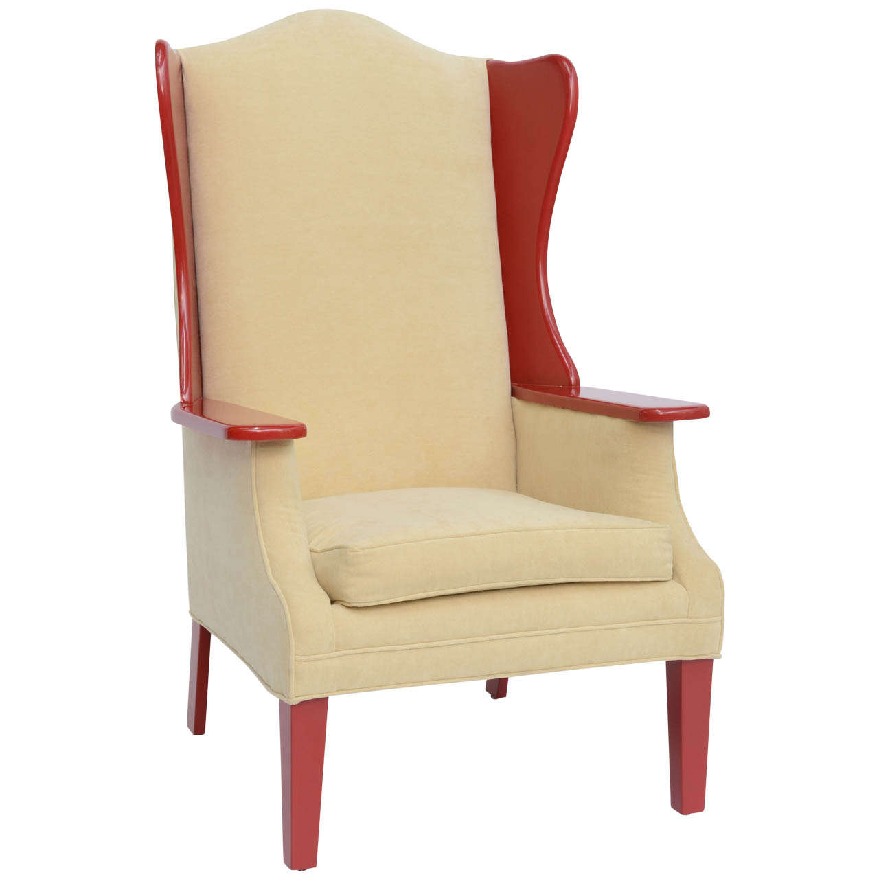 1950s Modern High Back Red Lacquered Wing Back Armchair For Sale