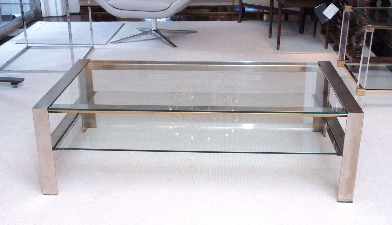 Handsome Coffee Table In Brushed Stainless Steel 2