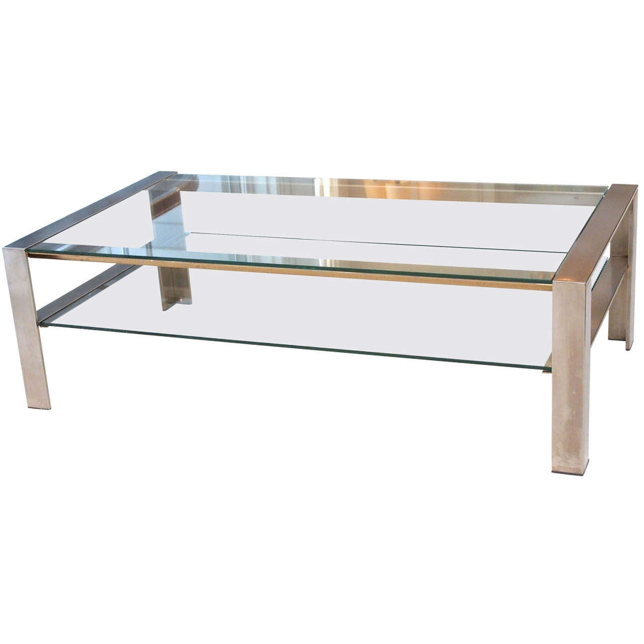 handsome coffee table in brushed stainless steel at 1stdibs