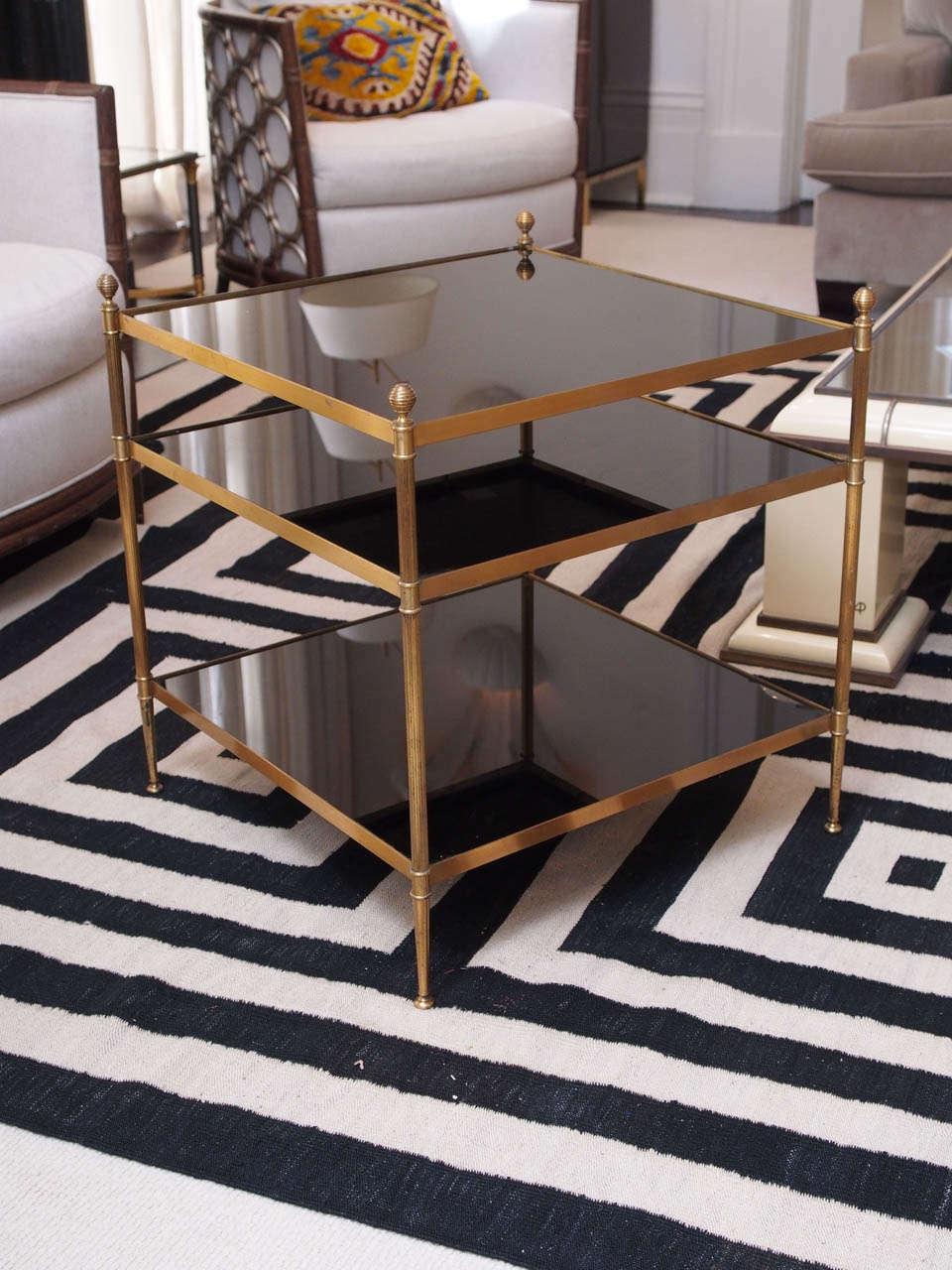 Black glass shelves : Side table maison jansen