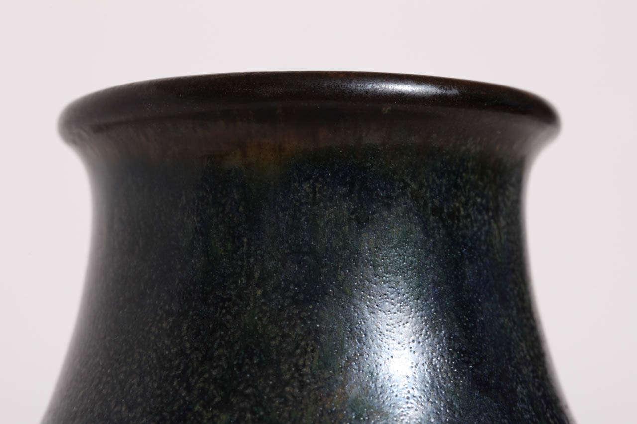 Ceramic Emile Decoeur French Art Deco Dark Blue Stoneware Vase For Sale