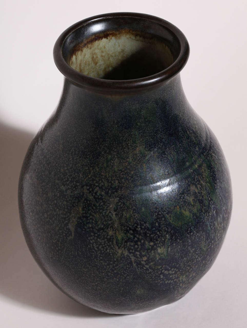 Emile Decoeur French Art Deco Dark Blue Stoneware Vase For Sale 1