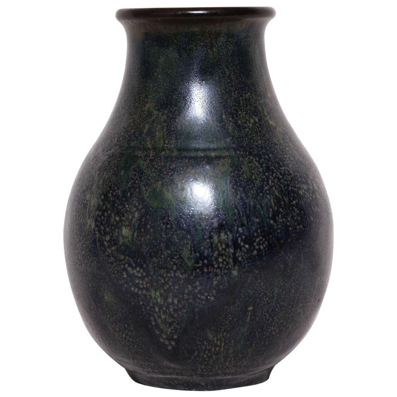 Emile Decoeur French Art Deco Dark Blue Stoneware Vase For Sale