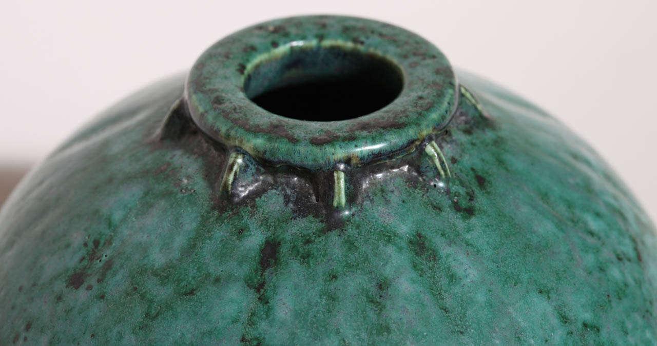 Emile Decoeur French Art Deco Turquoise Stoneware Vase For Sale 1