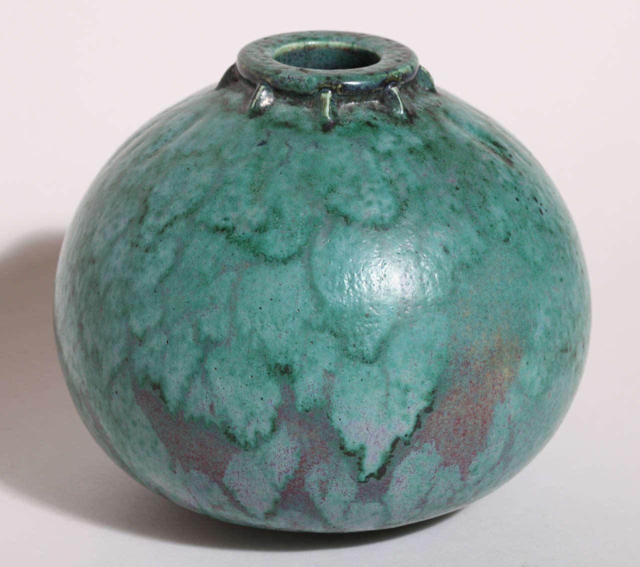 Emile Decoeur French Art Deco Turquoise Stoneware Vase For Sale 2