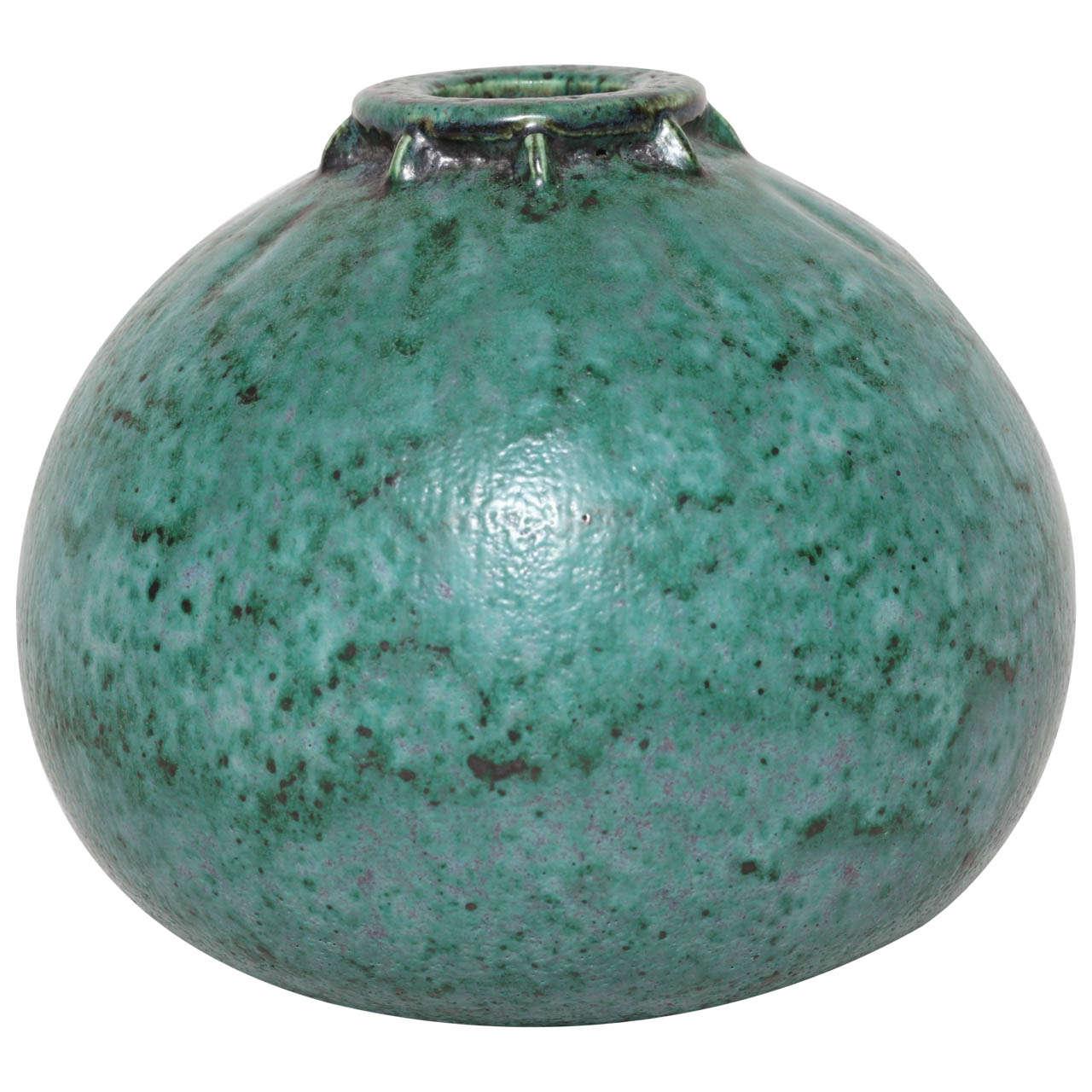 Emile Decoeur French Art Deco Turquoise Stoneware Vase For Sale