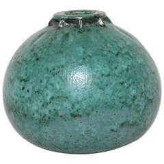 Emile Decoeur French Art Deco Turquoise Stoneware Vase