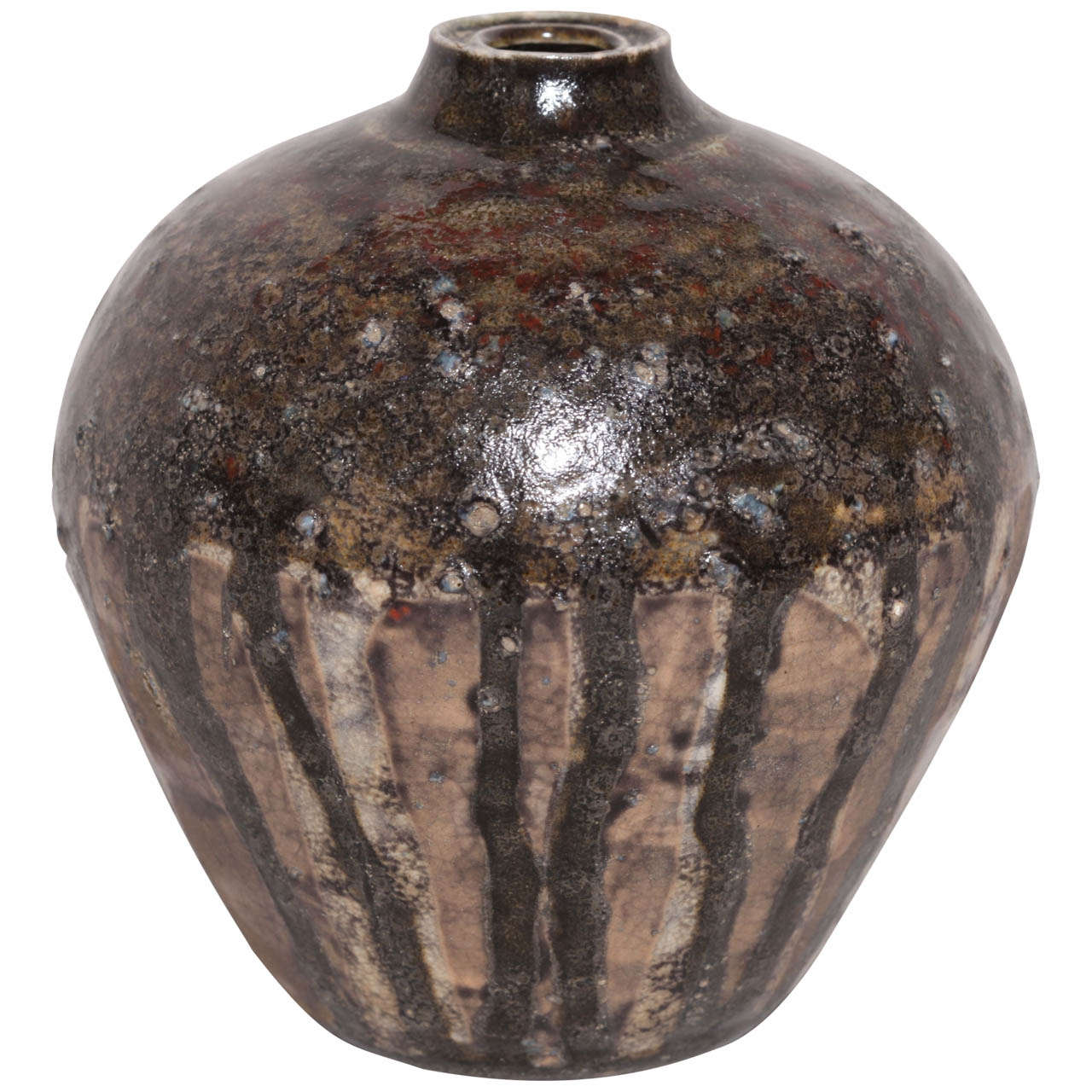 Henri Simmen French Art Deco Small Stoneware Vase For Sale