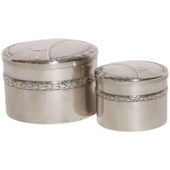 WMF German Art Deco Pair of Round Silver Plated Boxes