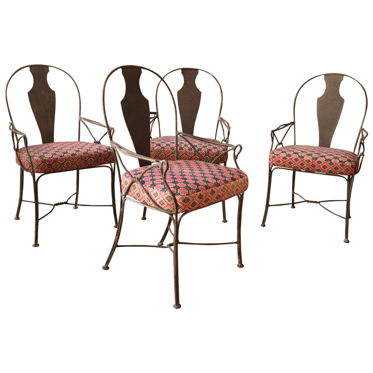 Seating Mini Gravita Armchair In Oriental Garden Fabric: Metal Patio Chairs With Upholstered Seats At 1stdibs