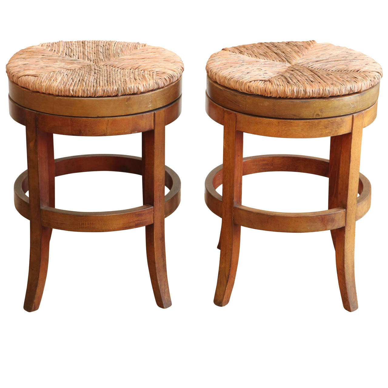 Wooden Stools With Rush Caning At 1stdibs