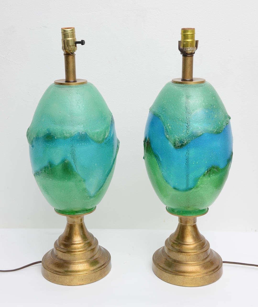 pair mid century modern green aqua art glass italian. Black Bedroom Furniture Sets. Home Design Ideas