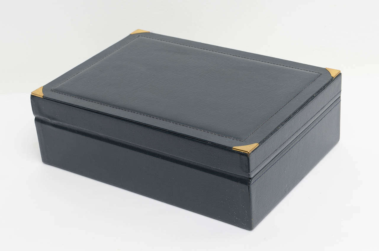 Elegant Navy Blue Leather Rolex Jewelry Case Box, 1970 At