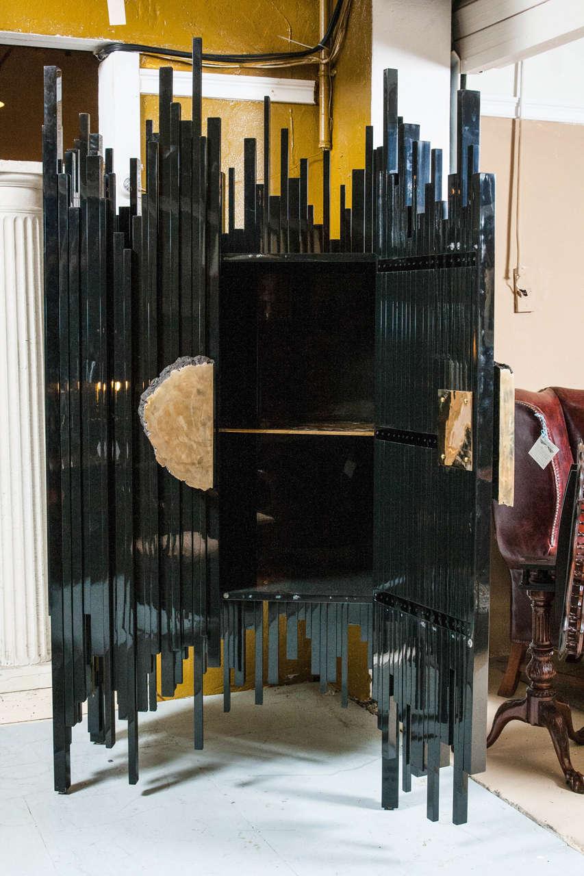 Ebonized Abstract Armoire by Hudson Furniture pany NY
