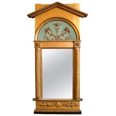 Late 19th Century Italian Neoclassical Paint Decorated Pier Mirror