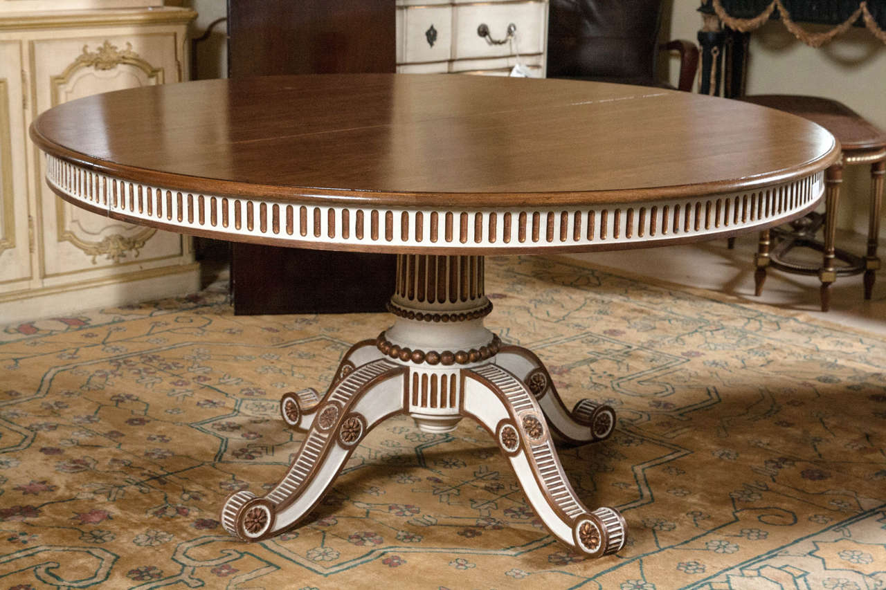 Swedish Paint Decorated Dining Table with Mahogany Top at