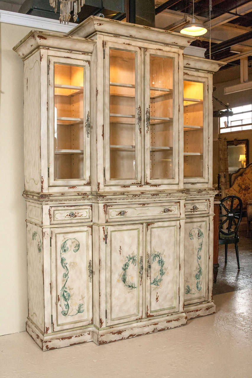 Ordinaire Two Piece Paint Decorated China Cabinet Or Breakfront. In The Style Of  Adams