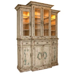 Two-Piece Paint Decorated China Cabinet Breakfront Lighted Interior Adams Style