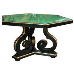 Ebony and Gilt Gold Hollywood Regency Centre or Dining Table