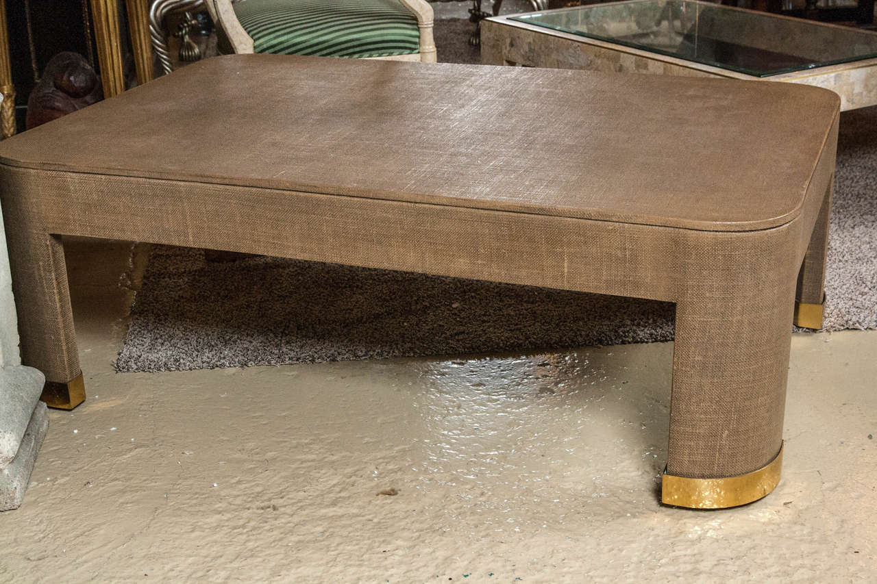 Karl Springer Style Linen Coffee Table For Sale At 1stdibs