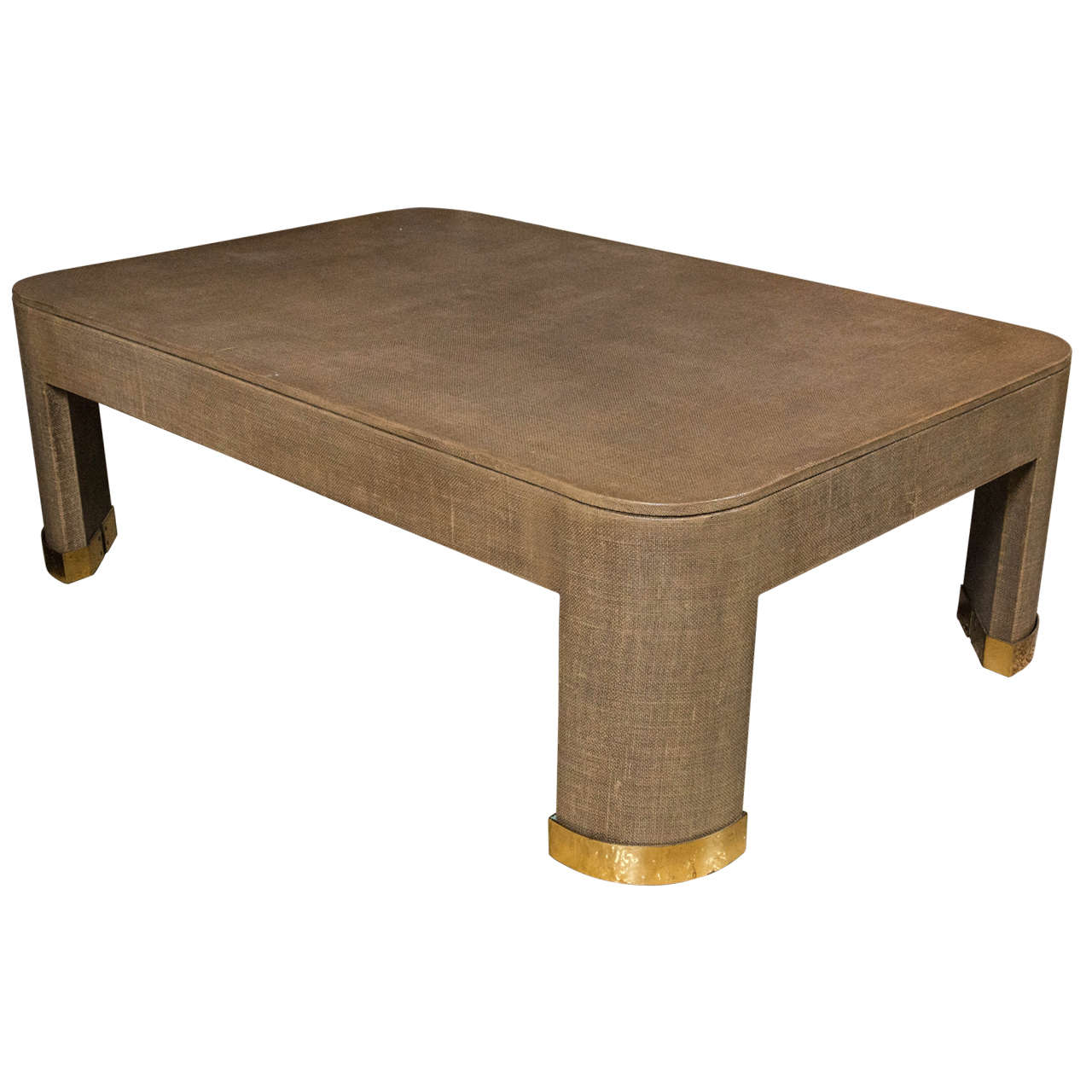 Palatial Karl Springer Parsons Style Linen Wrapped Coffee Table / Cocktail Table