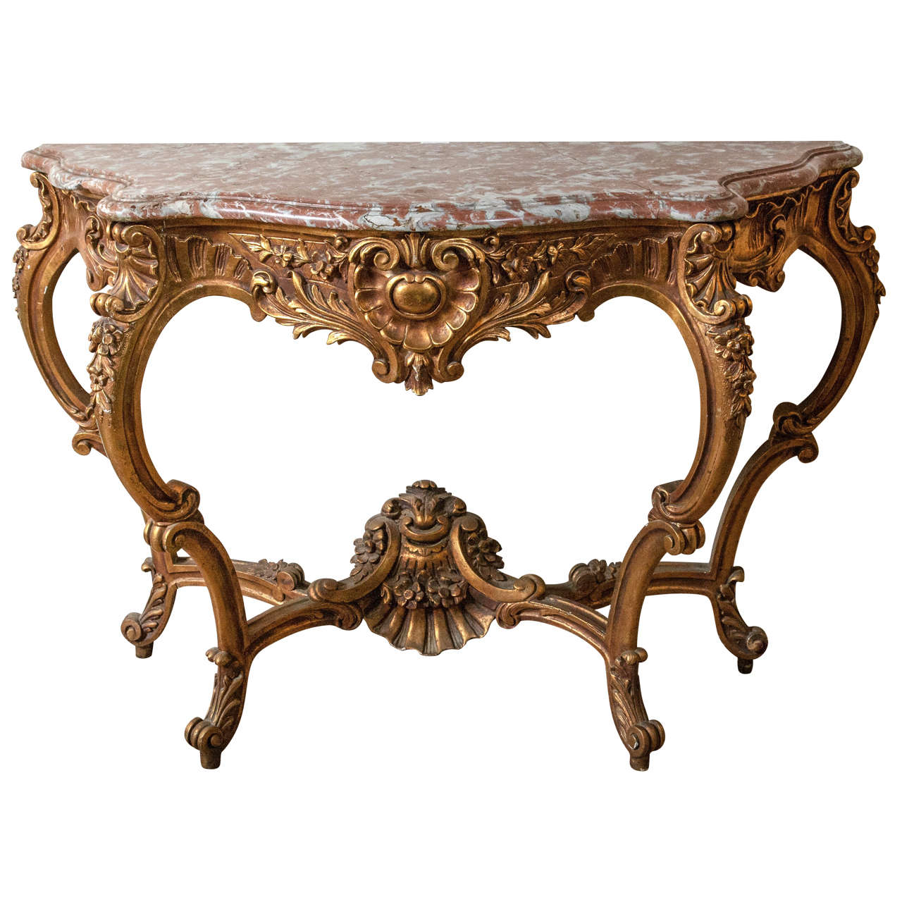 Marble-Top Louis XV Style Console Table by Jansen Exquisite Carved Details 1920s