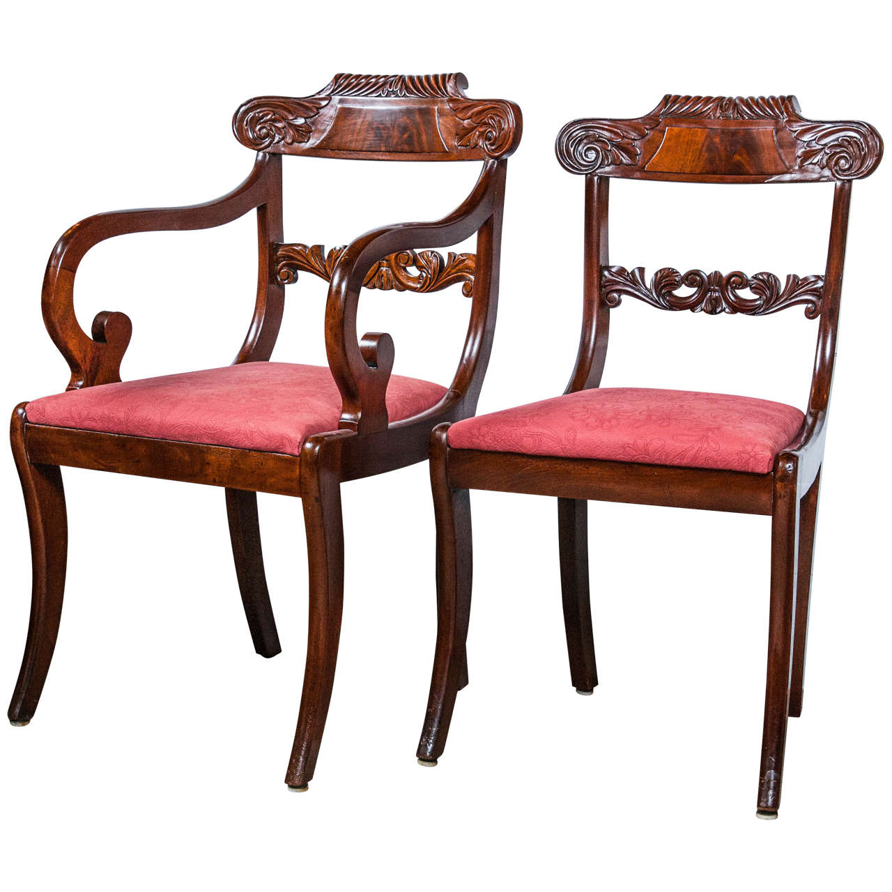 Set Eight English Regency Dining Chairs 19th C. Solid Mahogany Scroll Carvings