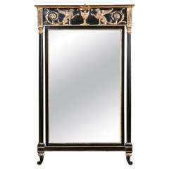 Russian Neoclassical Style Pier Glass Mirror Exquisite Giltwood And Ebony Finish
