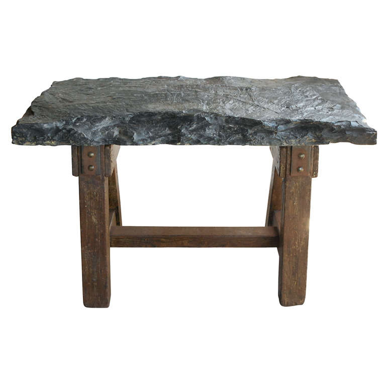 Work table from france with huge bluestone slab at 1stdibs for Furniture work table