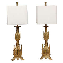 Pair Antique Gilt Bronze  Table Lamps with Shades
