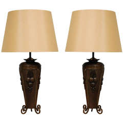 Pair Antique French Deco Urns as Table Lamps