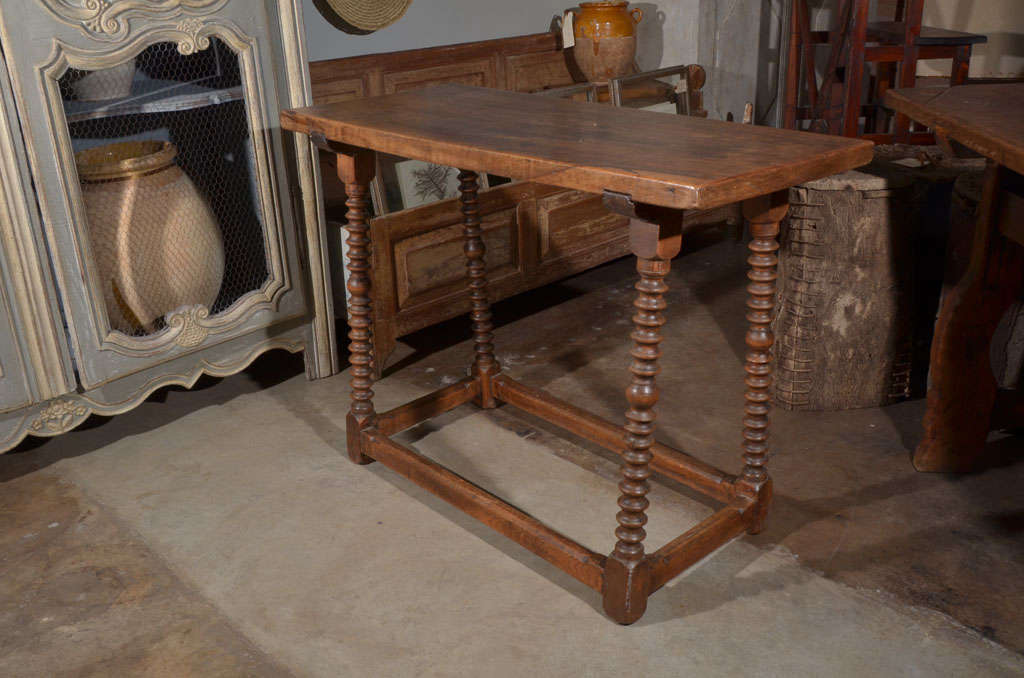 18th century walnut table from Spain. Most likely used to display a bargueno. Beautiful wood.