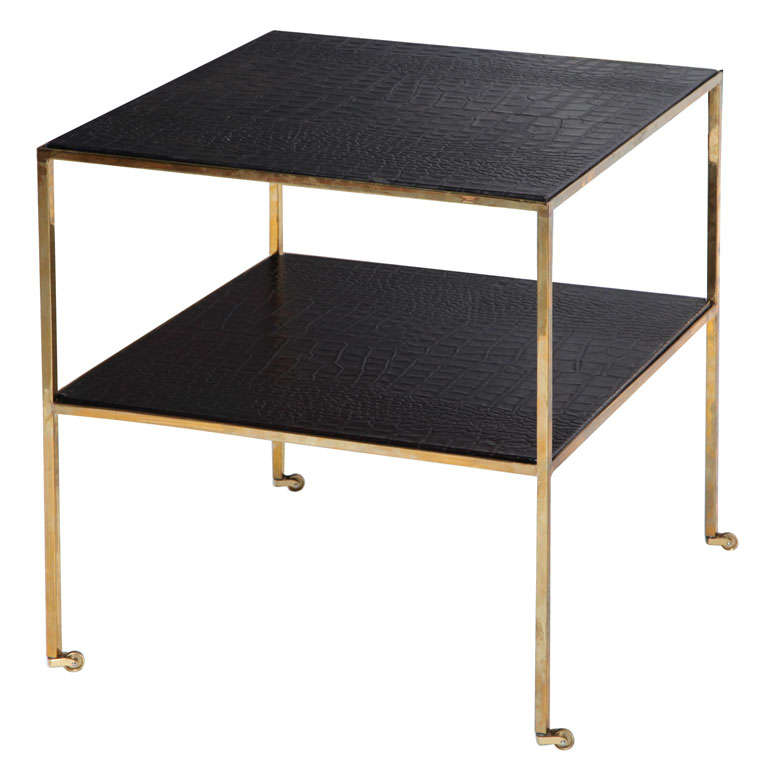 Embossed Leather Side Table For Sale