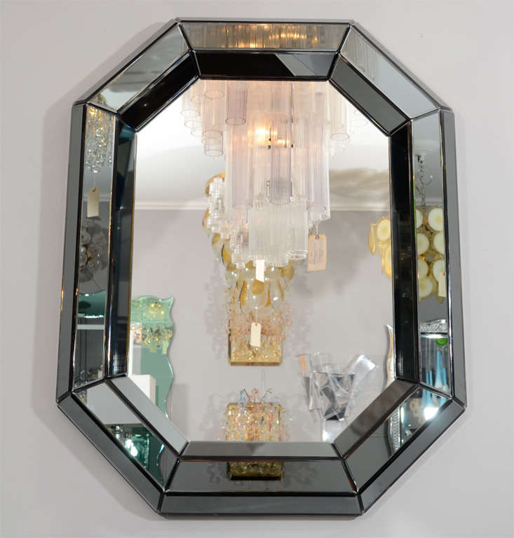custom smoked glass mirror for sale at 1stdibs. Black Bedroom Furniture Sets. Home Design Ideas
